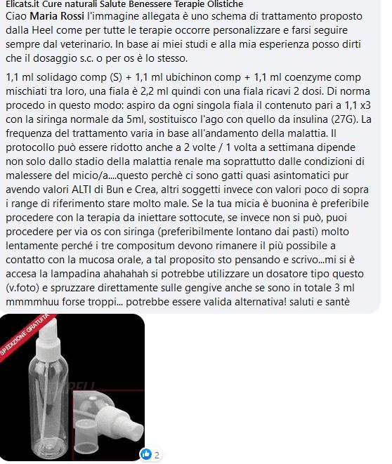 Dosaggio Protocollo Heel gatto